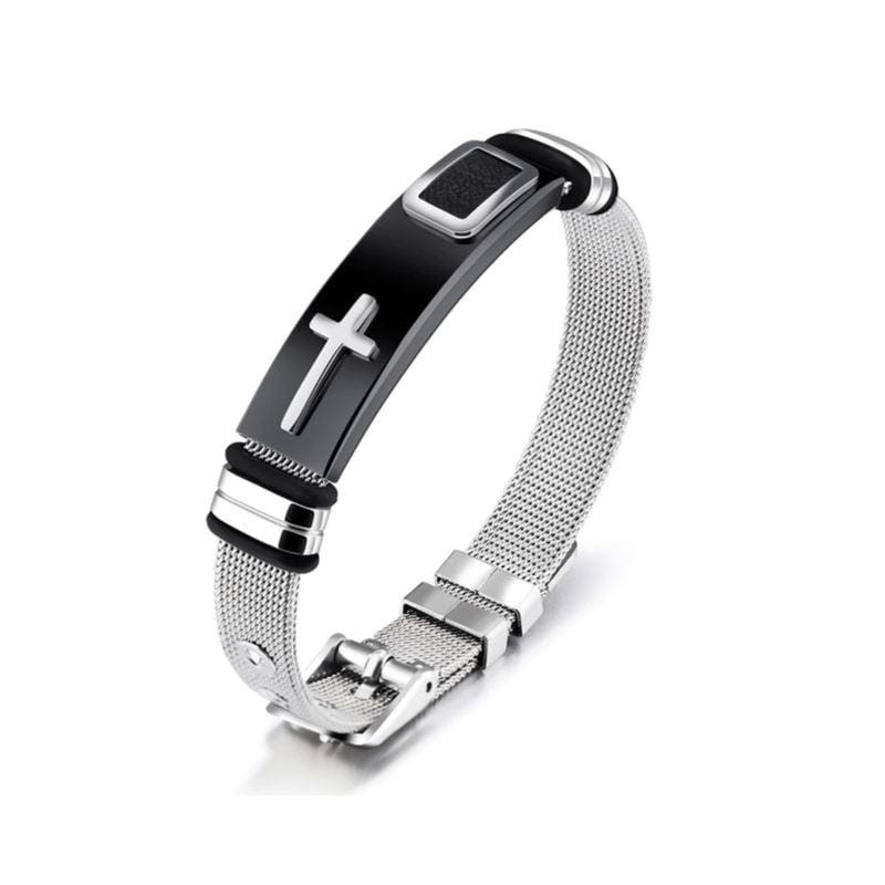 stainless steel cross bracelet black