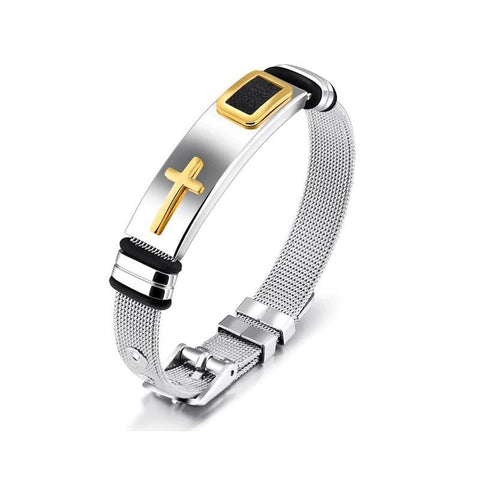 stainless steel cross bracelet gold