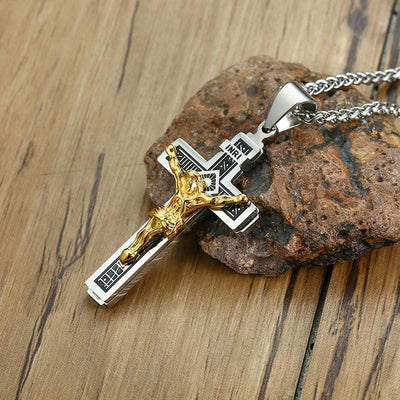 Steel Crucifix Necklace with INRI inscription