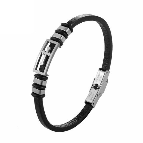 Leather Cross Bracelet Silver for Women