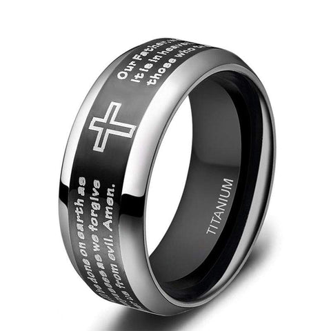 Titanium Lord's Prayer Ring