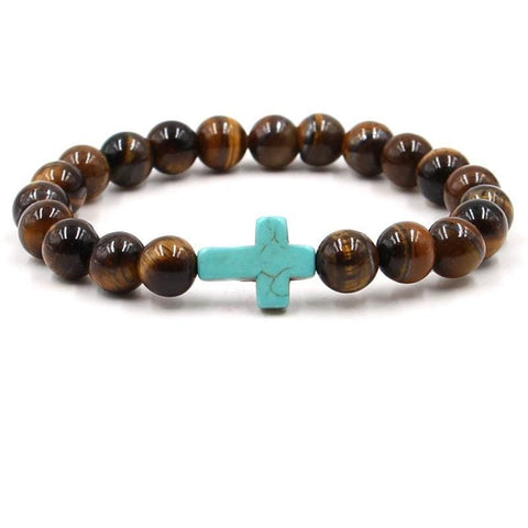 Cross Bead Bracelet <br>Tigers Eye Turquoise Cross