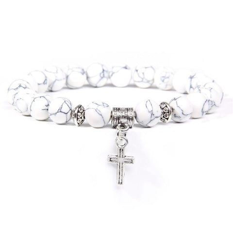 Stone Cross Charm Bracelet White