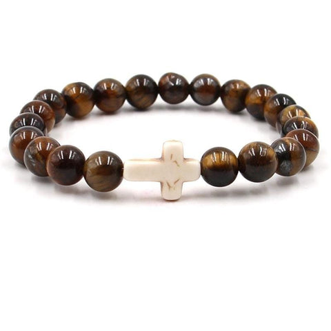 Tigers eye bead bracelet white cross
