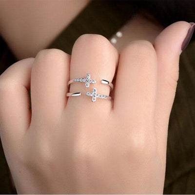 Christian Double Cross Ring in Silver