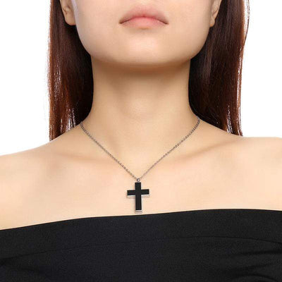 Women's Black Cross Urn Necklace