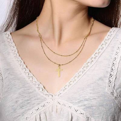 women's double layer cross necklace
