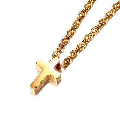 Christian Cross Necklace for Women Gold Plated