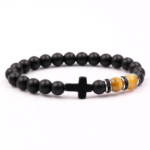Black Stone Bracelet With Cross yellow