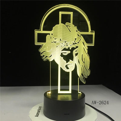 jesus 3d illusion lamp yellow