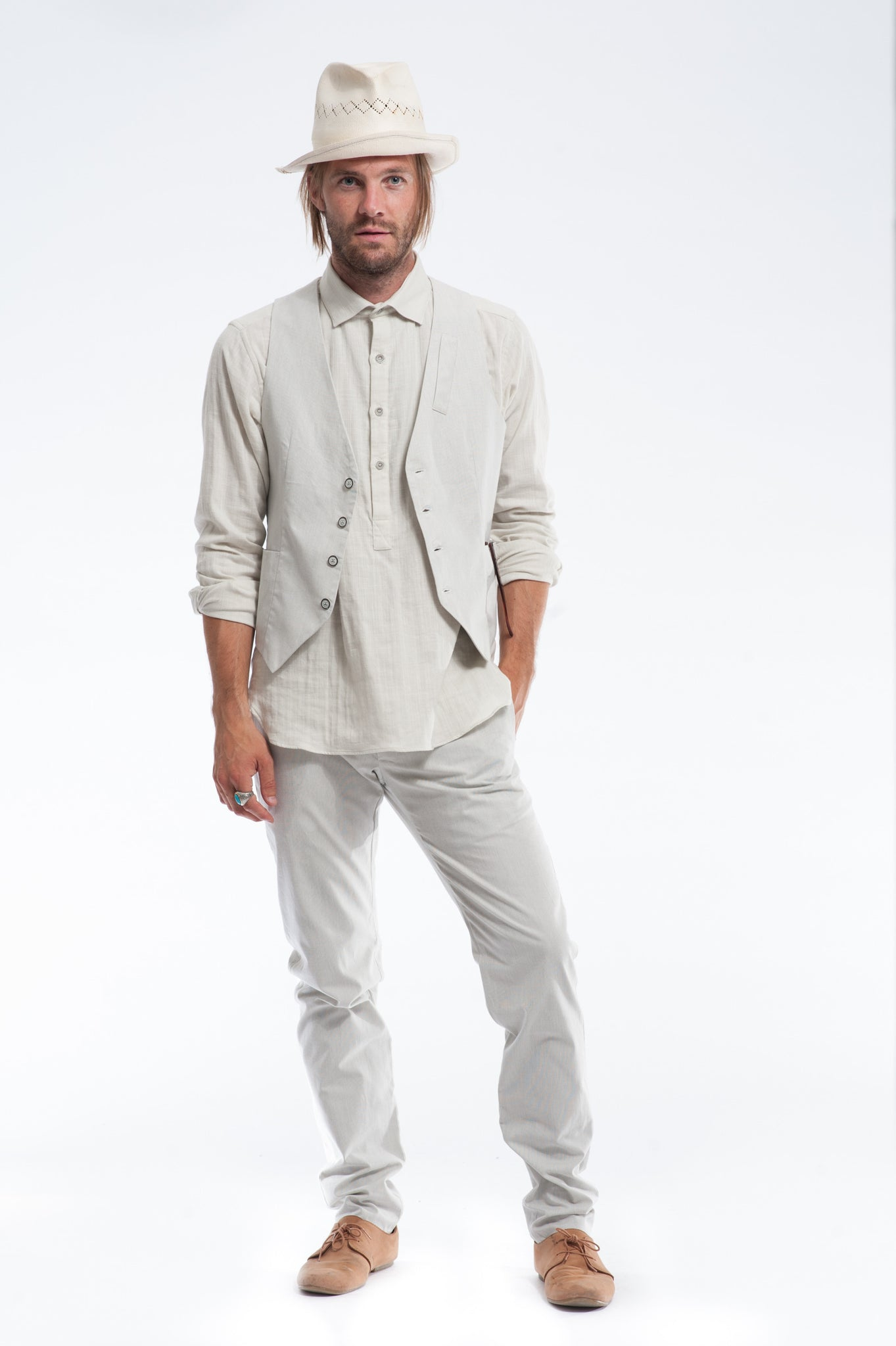 Off-White Pinstripe Suit with Vest | Cotton Shirt | Summer Wedding