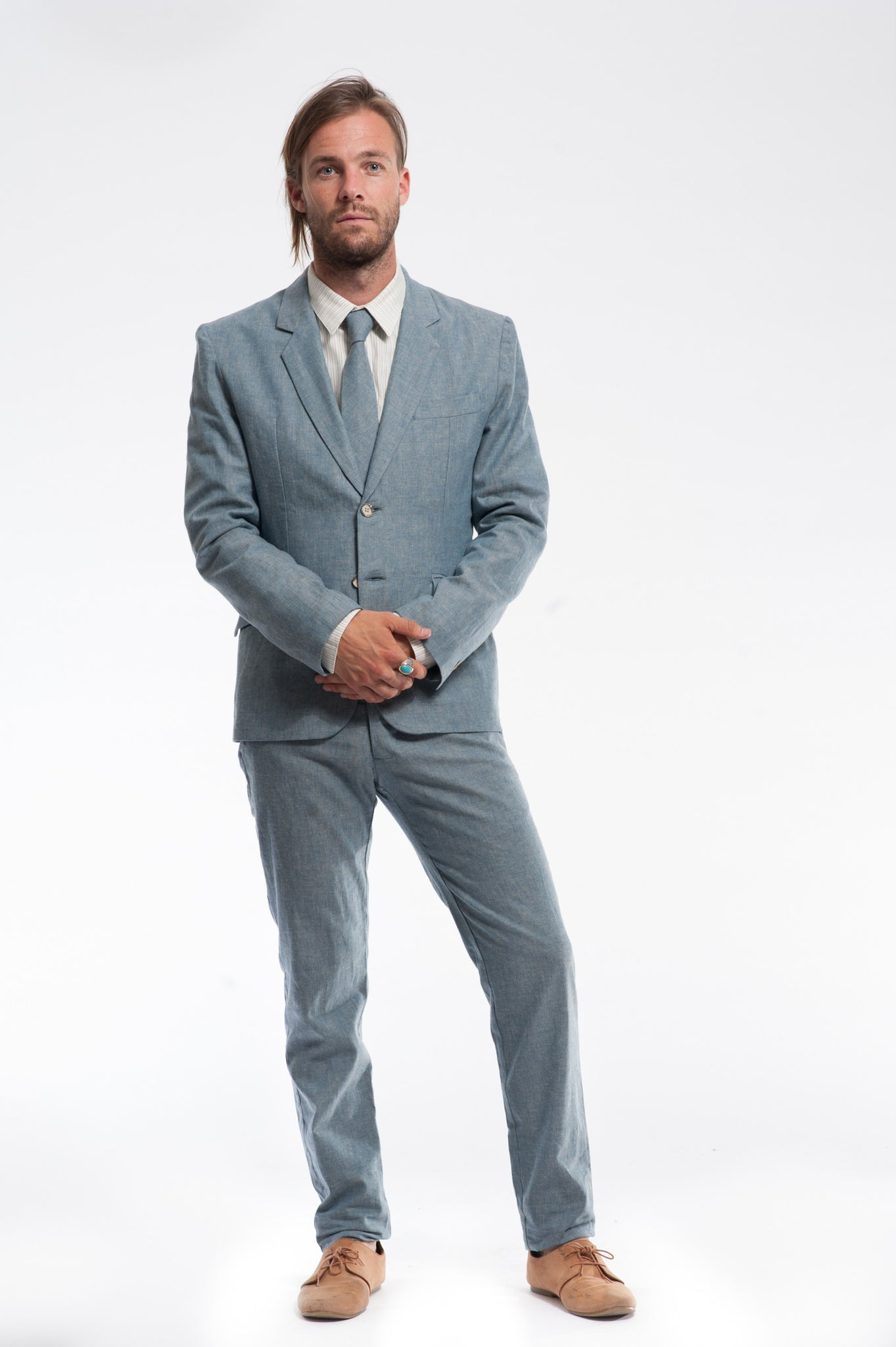 Three Piece Blue Herringbone Suit | Traditional Summer Suit