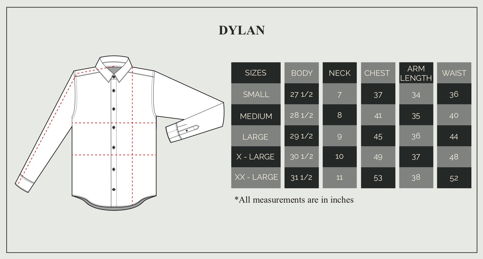 Short Sleeve Dylan Size Guide