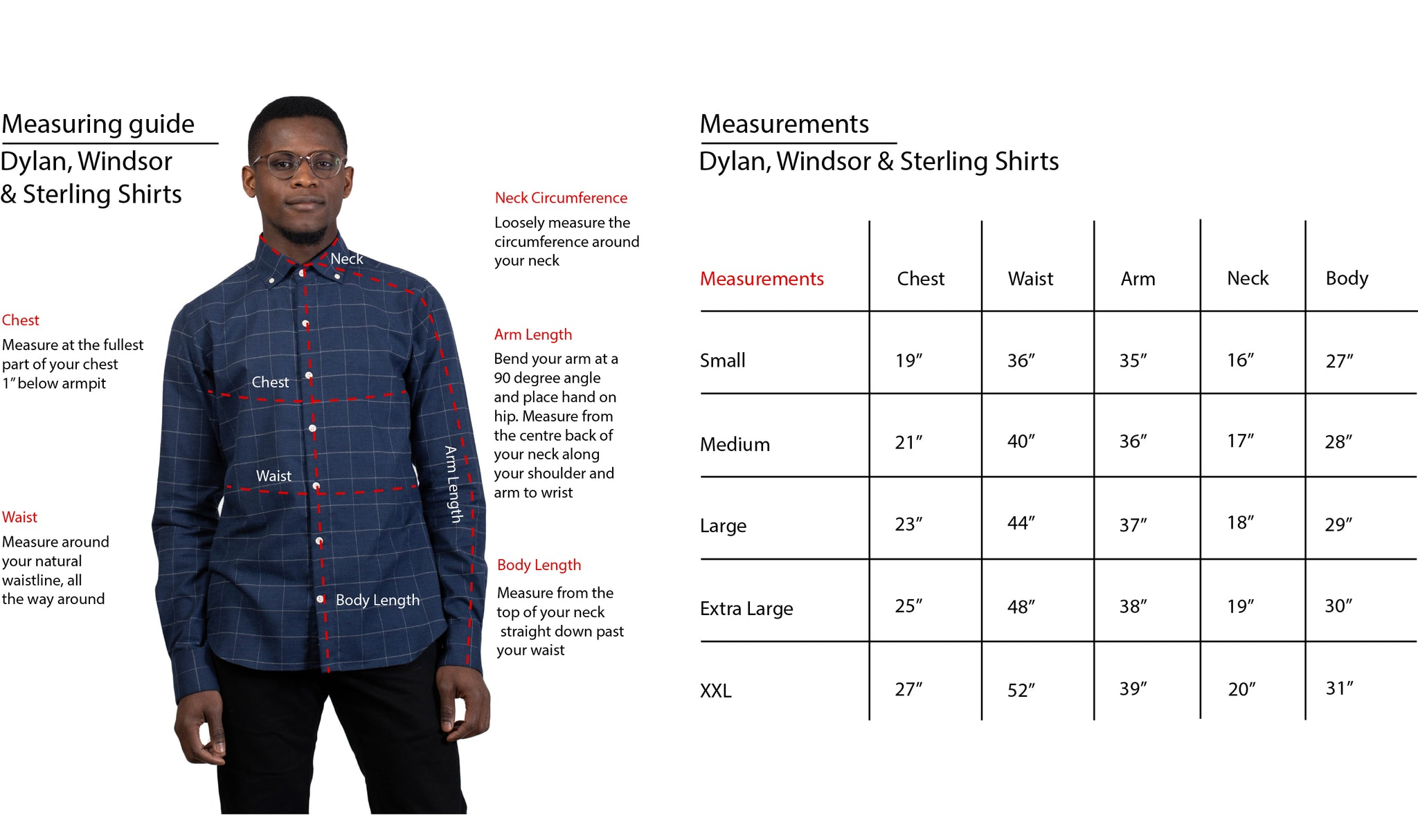 Dylan Windsor Sterling Shirt Fit Guide