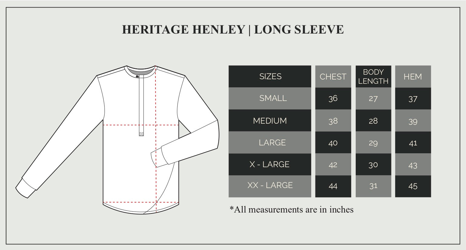 Long Sleeve Henley Size Guide