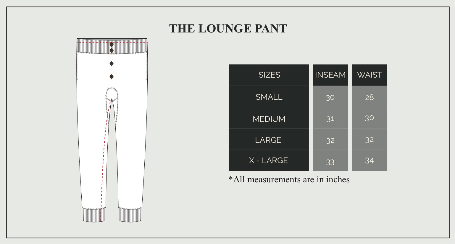 Lounge Pant Size Guide