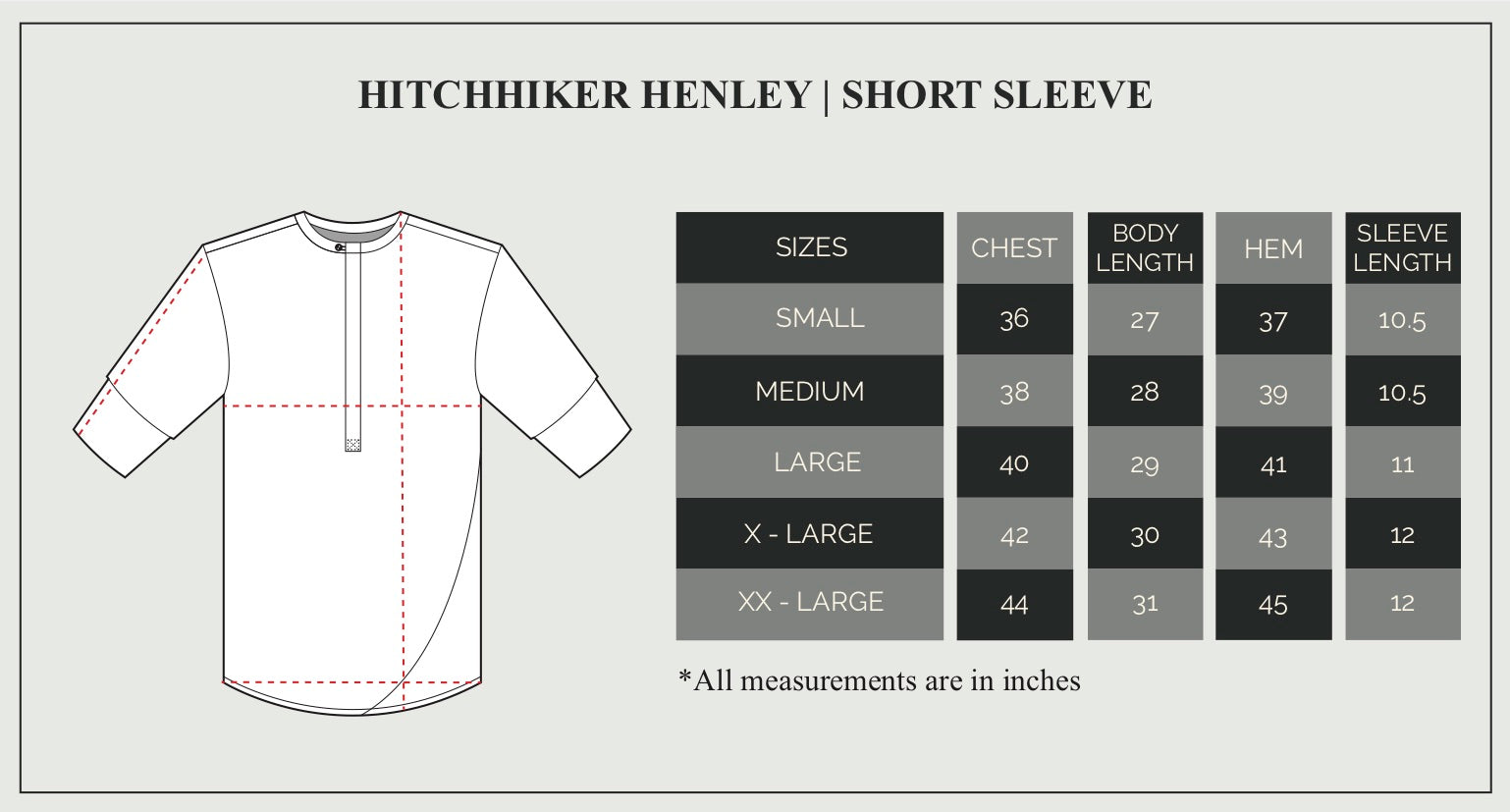 Short Sleeve Henley Size Guide