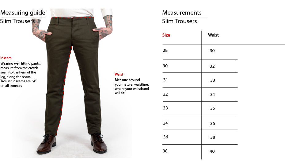 Slim Trouser fit guide