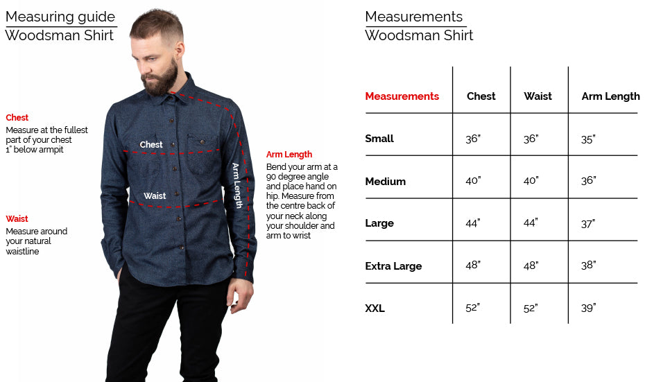 Woodsman Shirt Fit guide 18 Waits