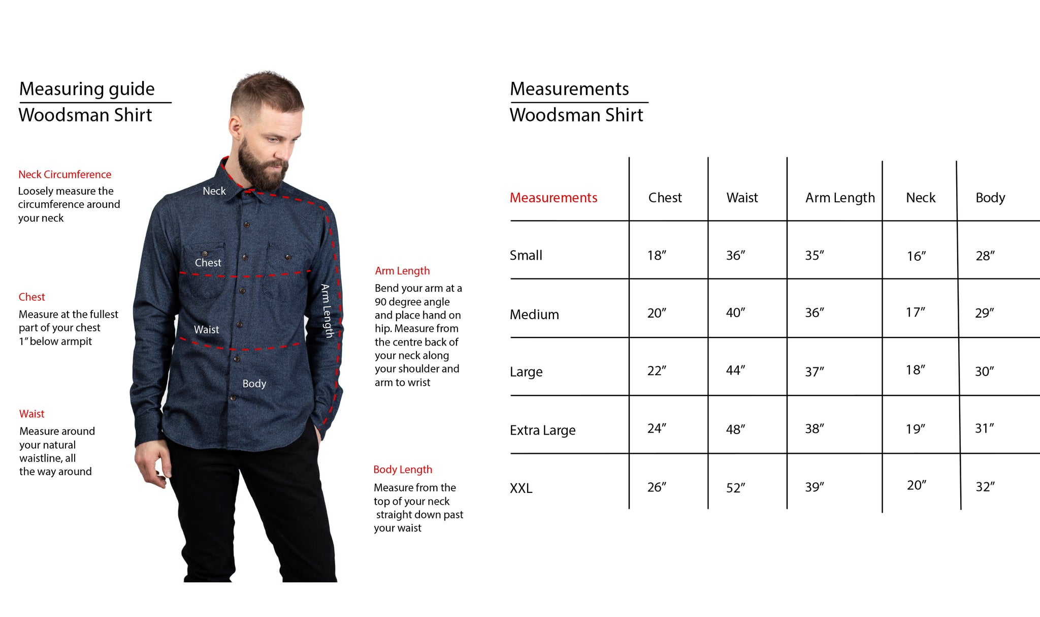 Woodsman Shirt Fit Guide