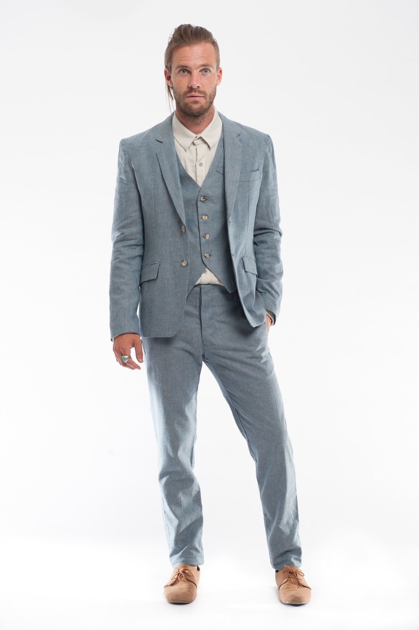 Blue Linen Three Piece Suit | Summer Wedding Suit