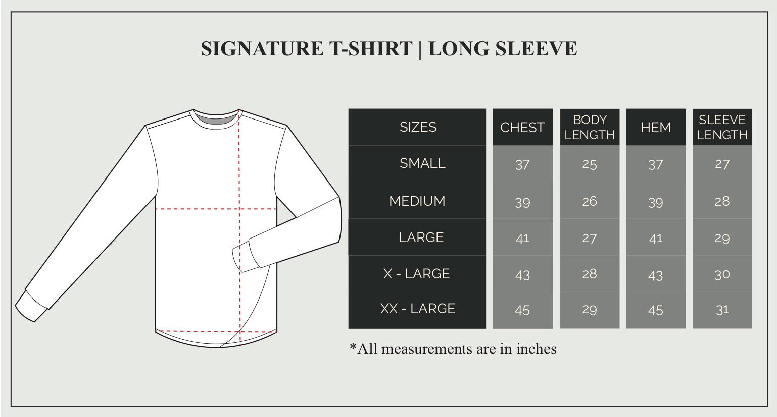 Long Sleeve T-Shirt Size Guide