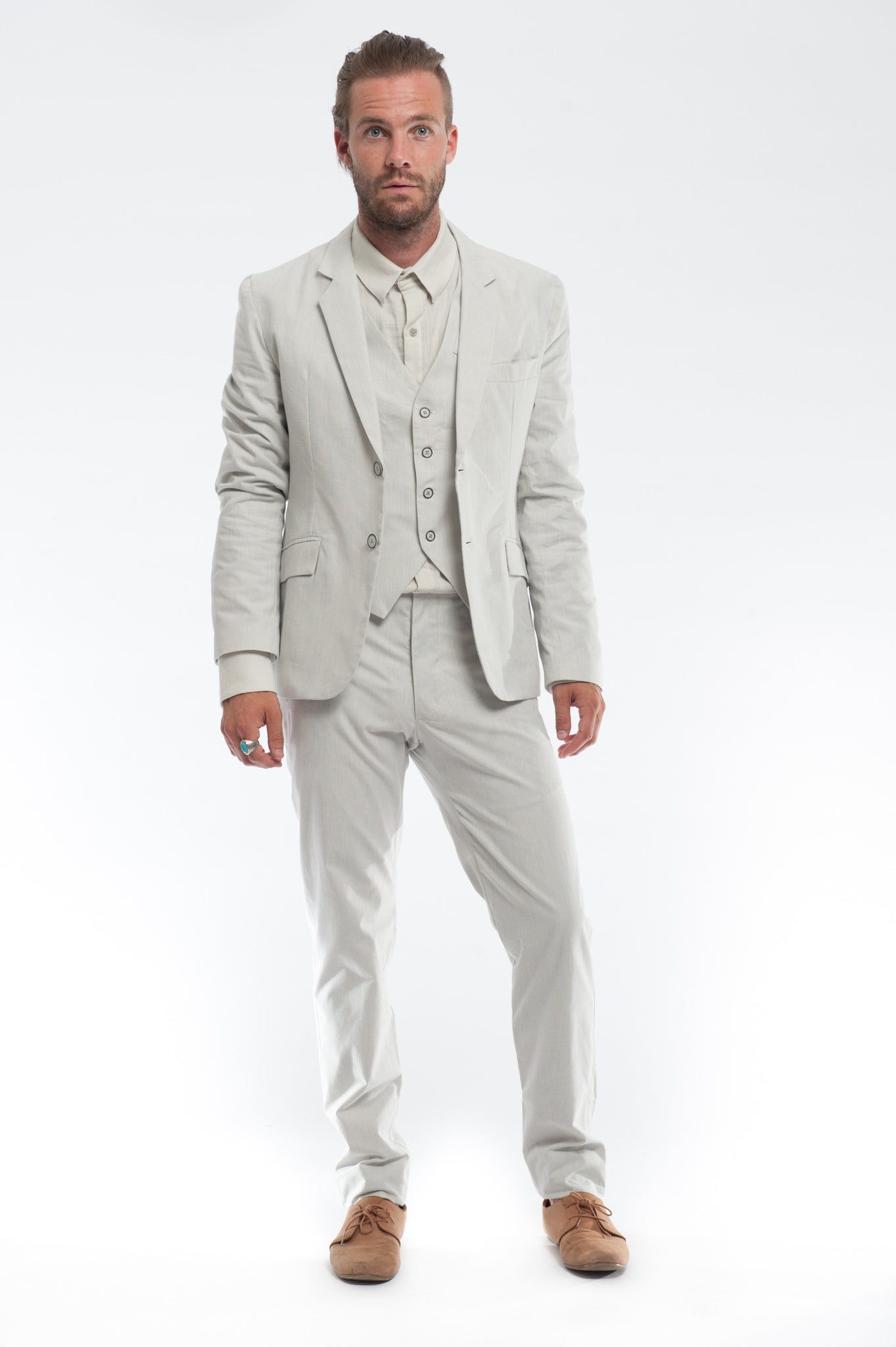 Off-White Pinstripe Suit | Summer Wedding Suit