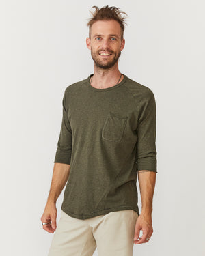 3/4 Sleeve Raglan Pocket Tee | Green Melange Organic Cotton