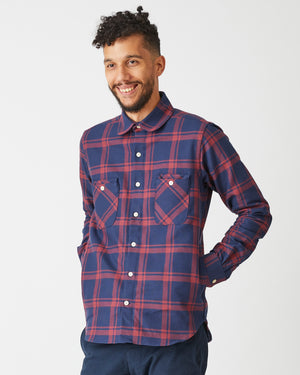 Woodsman Shirt | Navy & Red Plaid