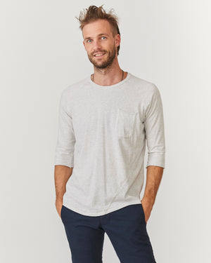 3/4 Sleeve Raglan Pocket Tee | Grey Melange Organic Cotton