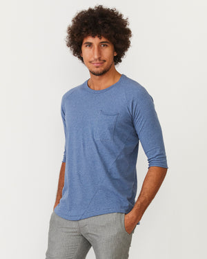 3/4 Sleeve Raglan Pocket Tee | Blue Melange Organic Cotton