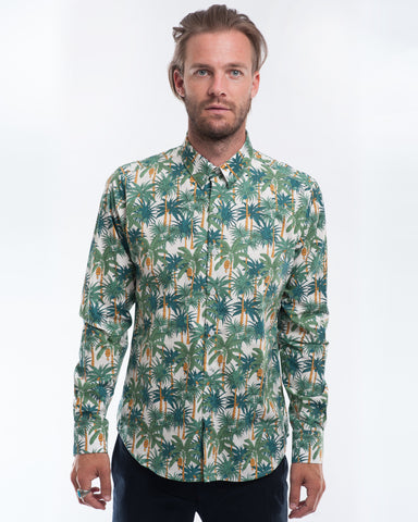 Cotton White Palms Long Sleeve Shirt Front