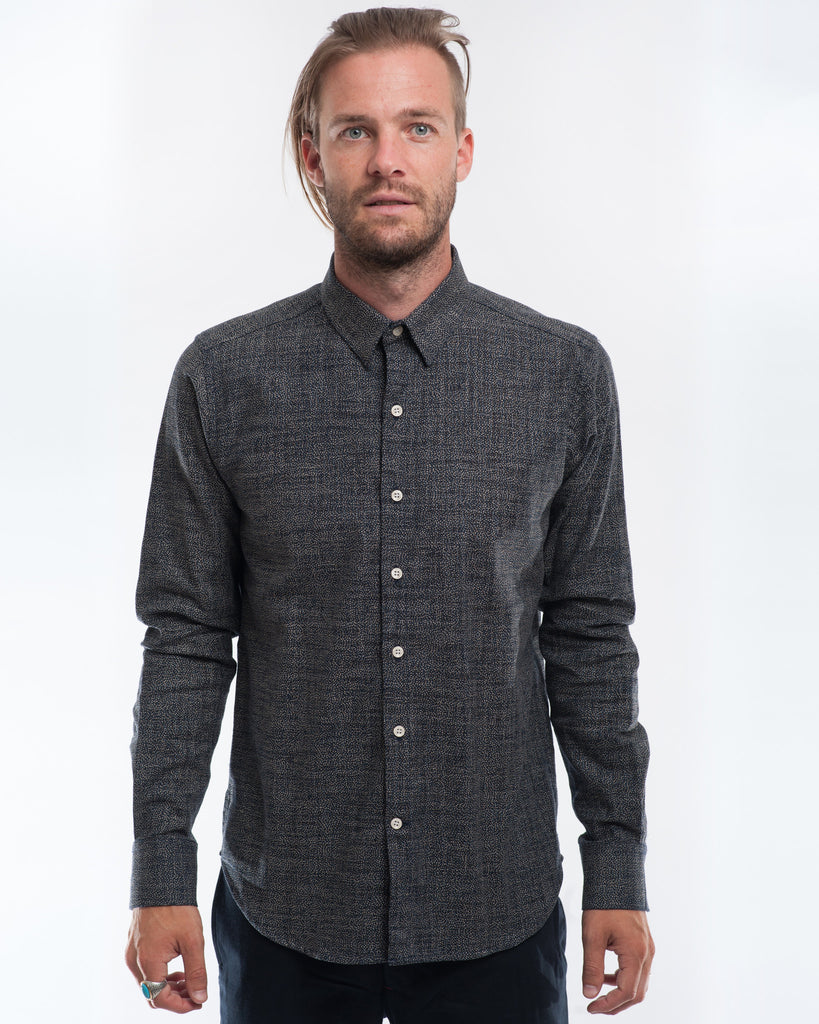Cotton Indigo Dots Long Sleeve Shirt Front