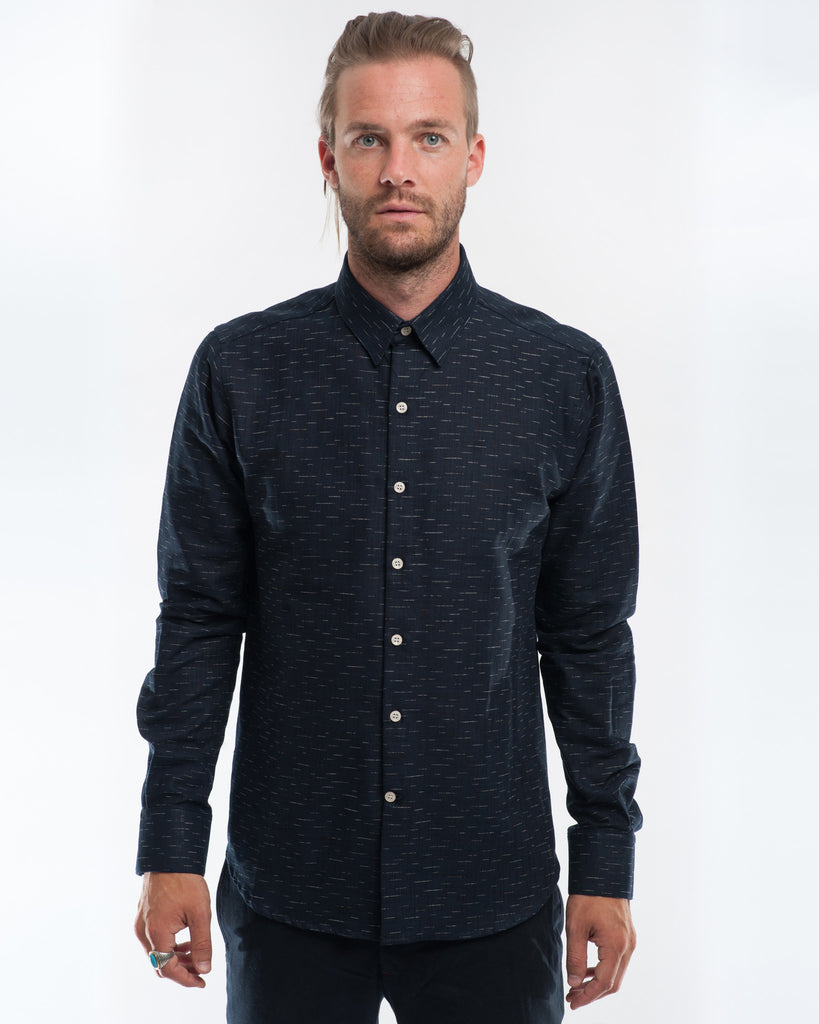 Cotton Indigo Dashes Long Sleeve Shirt Front