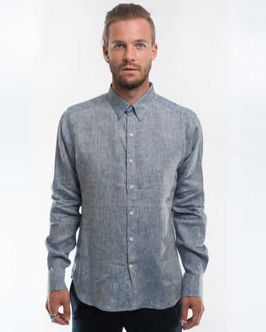 Linen Extra Neppy Indigo Chambray Long Sleeve Shirt Front