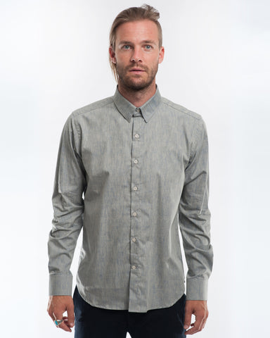 Cotton Sandy Blue Long Sleeve Shirt Front