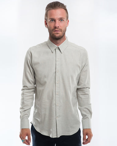 Cotton Soft Blue Long Sleeve Shirt Front