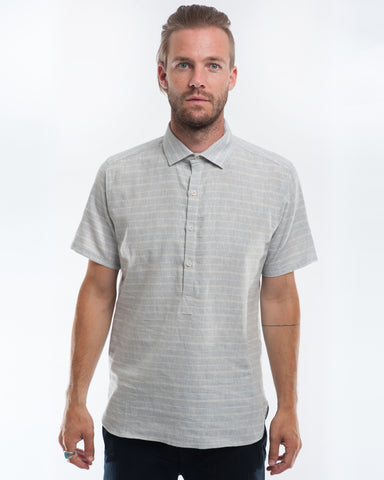 Blue Haze Stripe Hemp Short Sleeve Pullover Front