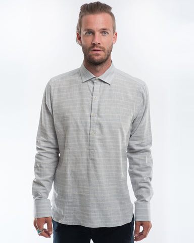 Blue Haze Stripe Hemp Long Sleeve Pullover Front
