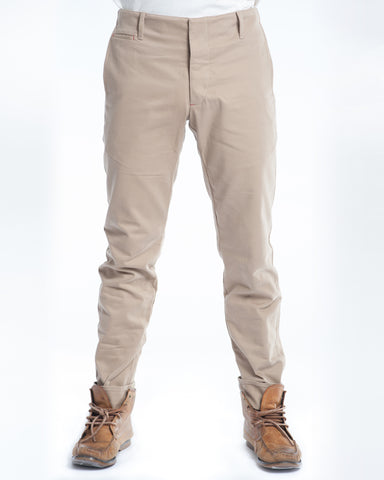 Cotton Soft Khaki Twill Slim Trouser Front