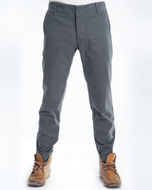 Cotton Soft Grey Twill Slim Trouser Front