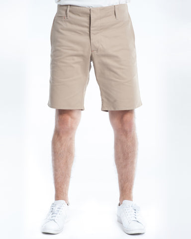 Cotton Soft Khaki Twill Slim Short Front