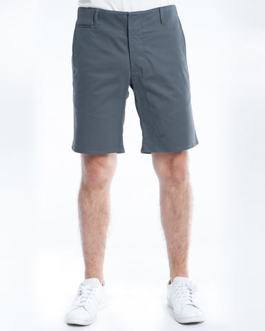 Cotton Soft Grey Twill Slim Short Front