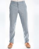 Blue Herringbone Linen Slim Suit Trouser Front