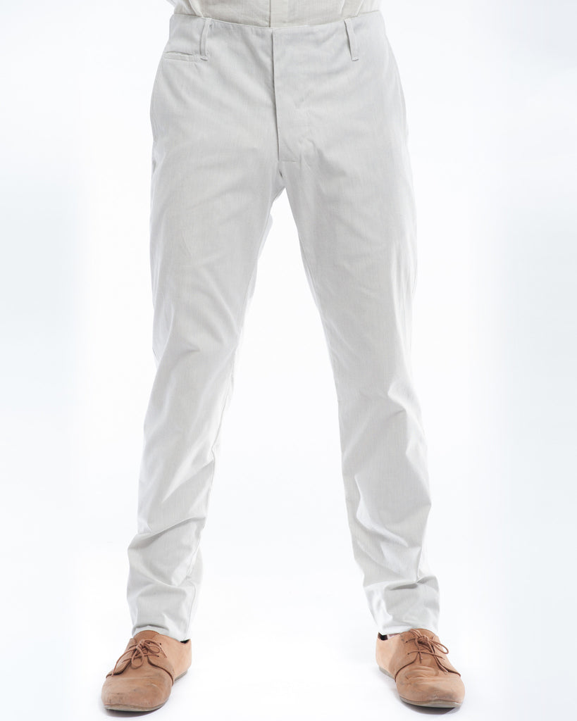 Cotton Off-White Pinstripe Slim Suit Trouser Front