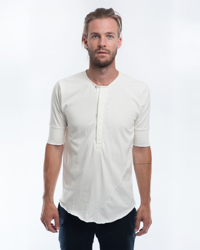Cotton Off-White Henley Front
