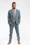 Blue Herringbone Linen Slim Suit Trouser Front Set