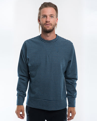 Cotton Indigo Stripe Sweater Front
