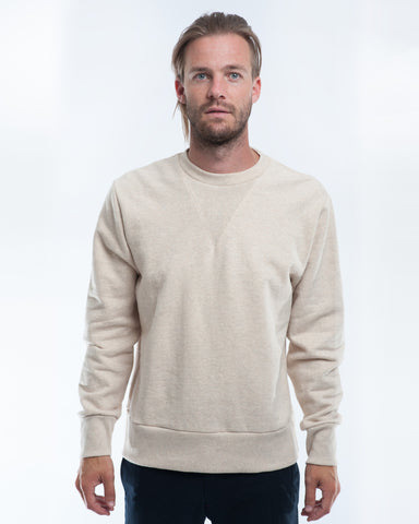 Cotton Oatmeal Herringbone Sweater Front