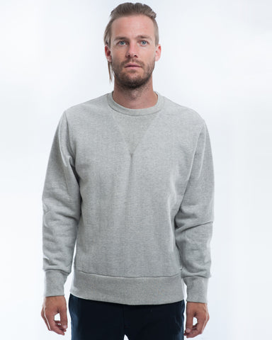 Cotton Grey Herringbone Sweater Front